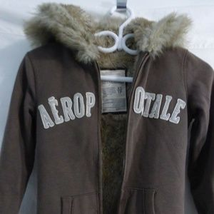 Aeropostale zip up sweatshirt hoodie, faux fur, xs
